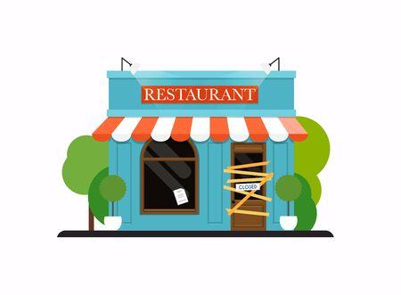 Restaurant  is closed/bankrupt. Flat design modern vector business concept.