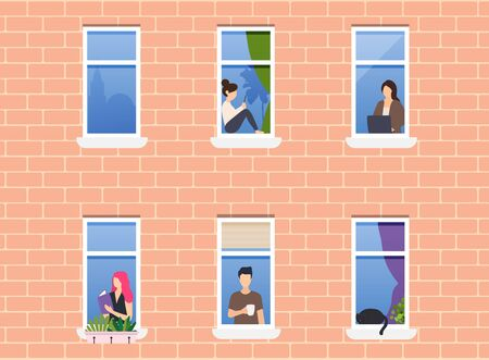 People in window frames. Neighbors people character. Exterior of building with opened windows and people living inside.