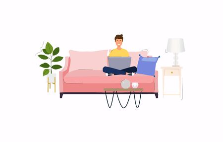 Man working at home. Young man sitting on a sofa and using laptop. Freelance, self employed, freedom, in living room. Illustration