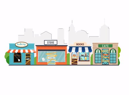 Store shop, cafe, book shop, bakery is closed/bankrupt. Flat design modern vector business concept.