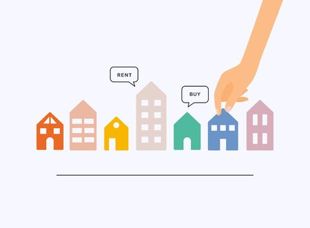 Hand holding home with Buy or Rent speech bubbles. House selection, house project, real estate concept, flat style illustration.