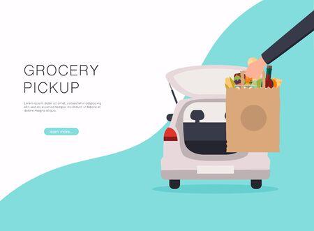 Lebensmittel online bestellen. Abholpunkt im Lebensmittelsupermarkt. Sicher einkaufen. Vektorgrafik