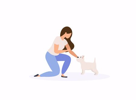 Woman adopting pet from animal shelter. Colorful vector illustration in flat style. Vectores