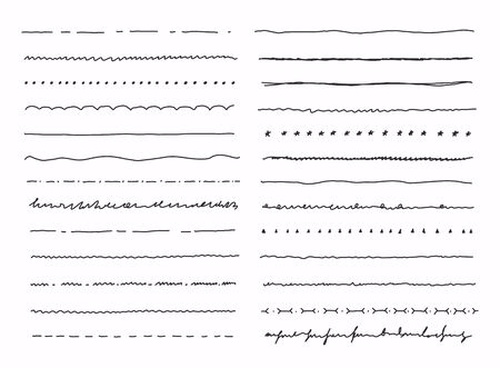 Big set of hand drawn line borders, scribble strokes and design elements isolated on white.