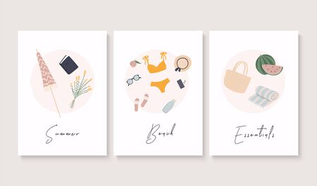 Summer banner set. Summer essentials. Vector illustration.
