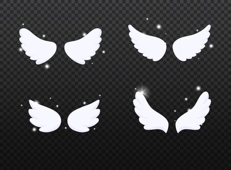 Set of hand drawn bird or angel wings with light effect. Different shape in open position.