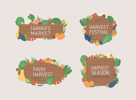 Farmers market banners on a wood background. Organic food advertising.