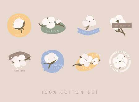Set of cotton vector labels / tags. Hand drawn, typographic style icons or badges, stickers, signs. Stock Illustratie