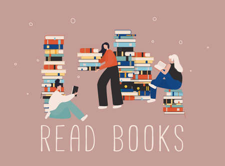Young stylish female readers sitting on stack of giant books or beside it and reading. Stock Illustratie