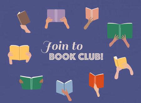 Vector cartoon illustration of Reading club. Open books in hands. Stock Illustratie
