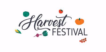 Hand sketched autumn lettering Harvest Festival with autumn harvest symbols. Harvest fest poster design. Stock Illustratie