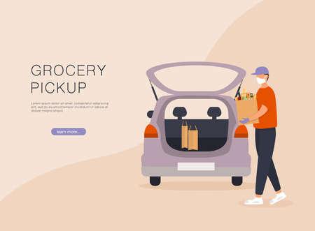 Order groceries online. Pick up point in food supermarket. Safe shopping. Stock Illustratie