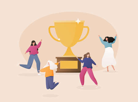 Flat People Characters with Prize, Golden Cup. Business Team Success, Achievement Concept.