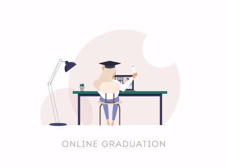 Female student attending a Graduation 2020 ceremony via video call. Stock Illustratie
