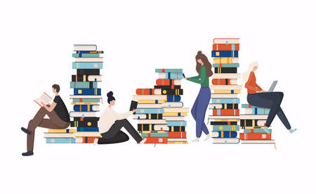 Young stylish people readers sitting on stack of giant books or beside it and reading. Stockfoto - 154932583
