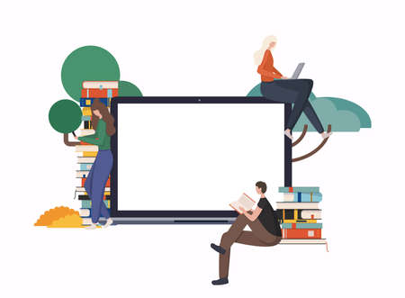 Online education at home concept. E-learning. Modern vector illustration concepts for website and mobile website development. Stockfoto - 154932587