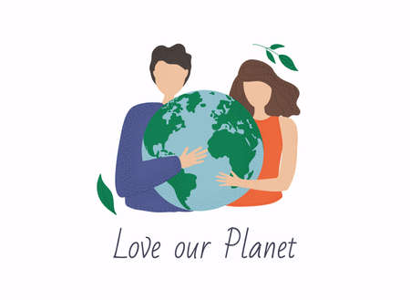 World environment day poster. Love our planet card. Flat cartoon colorful vector illustration. Stockfoto - 154932589