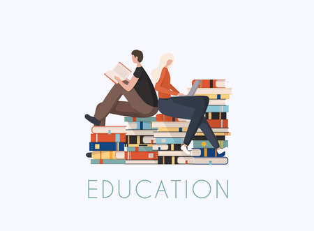 Young stylish people readers sitting on stack of giant books or beside it and reading. Stock Illustratie