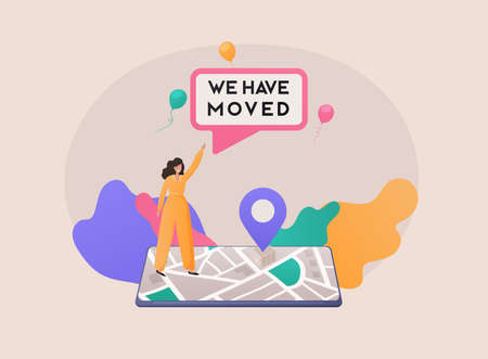 We have moved concept. People announce change address. Use for landing page, template, ui, web, mobile app, poster, banner. Stock Illustratie