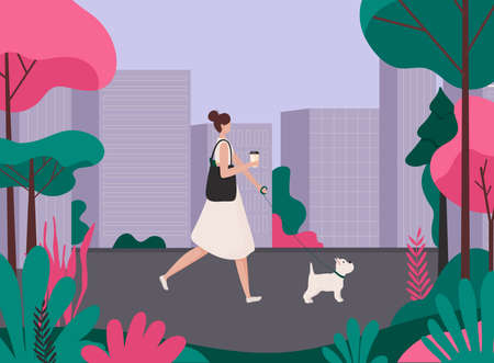 Woman walking a dog. Healthy active lifestyle colorful characters vector.
