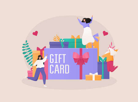 Gift card and promotion strategy, gift voucher, discount coupon and gift certificate concept.