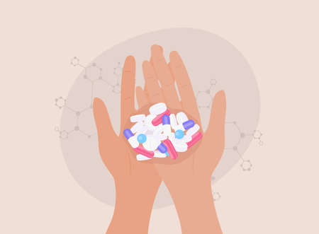 Pills in hands. Multiple colors pills in hands. Medical concept. Shopping at the pharmacy.
