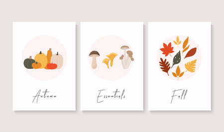 Set of abstract autumn backgrounds. Autumn greetings cards perfect for prints, flyers, banners, invitations, promotions.