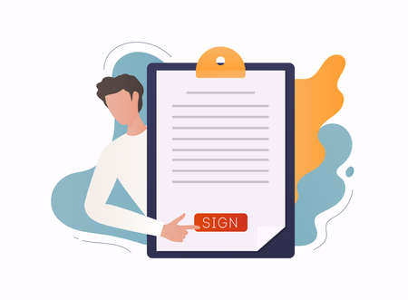 Electronic signature concept. Business contract signing. Corporate document. Agreement checking.