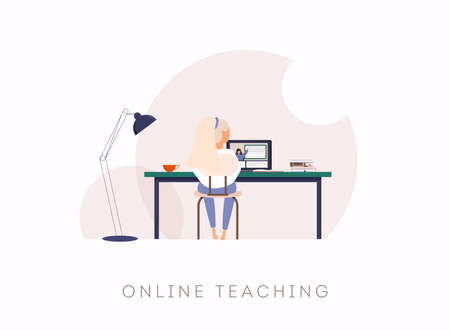 Young woman study at computer. Can use for web banner, infographics, hero images.