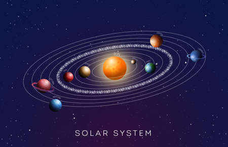 Solar System with gradient planets. Vector illustration. Stock Illustratie