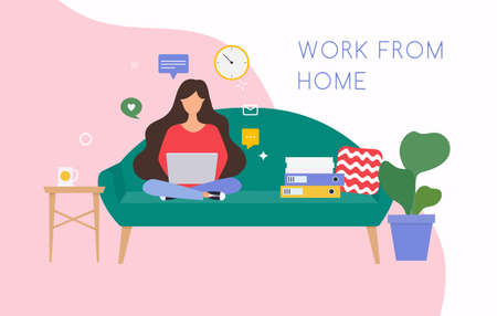 Girls working at home. Young woman sitting on a sofa and using laptop. Freelance, self employed, freedom, in living room. Stock Illustratie