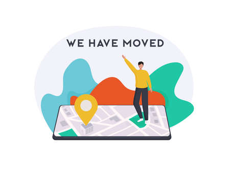 We have moved concept. People announce change adress can use for, landing page, template, ui, web, mobile app, poster, banner, flyer. Stock Illustratie