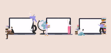 Online education at home concept. E-learning. Modern vector illustration concepts for website and mobile website development. Stockfoto - 155204068