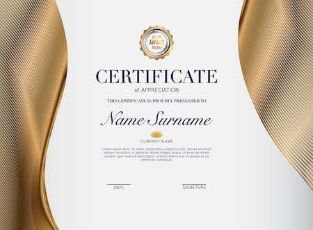 Certificate template with golden decoration element. Design diploma graduation, award. Vector illustration. Stock Illustratie