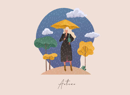 Autumn concept illustration. Woman holding an umbrella on the background of the trees. Stockfoto - 155205684