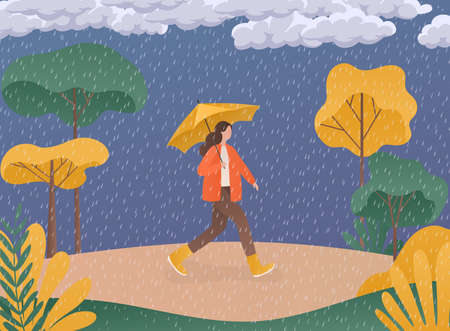 Autumn concept illustration. Woman holding an umbrella on the background of the trees. Stockfoto - 155205694