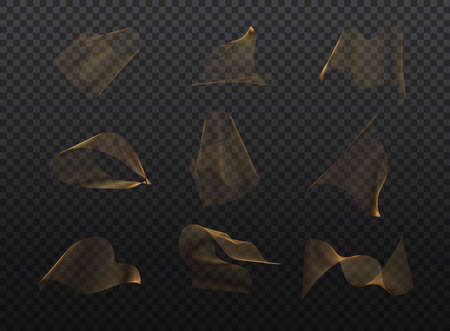 Set of abstract gold waves. Golden moving lines design element on transparent background. Can be used for business card, web pages. Stockfoto - 155837321