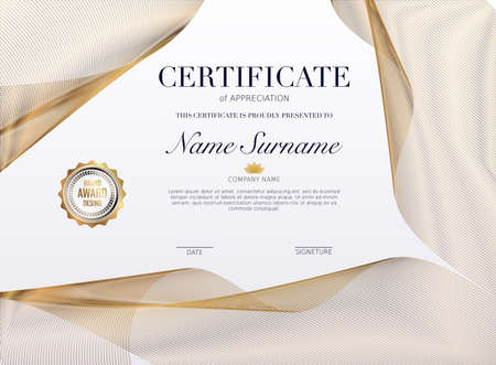 Certificate template with golden decoration element. Design diploma graduation, award. Vector illustration. Stockfoto - 155204045