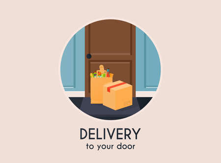 Delivery to your door. Flat design modern vector illustration concept.