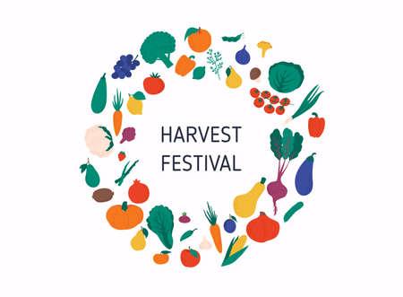 Harvest Festival banner with autumn vegetables. Harvest fest poster design.