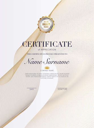 Certificate template with golden decoration element.