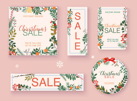 Christmas sale banner set. Discount season. Winter leafs on the background. Flat design modern vector illustration concept. Stockfoto - 157021471