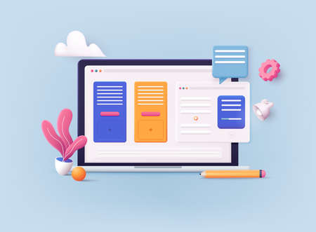 3D Web Vector Illustrations. Laptop with open pages. Landing page template for web.