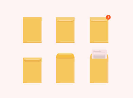 Set of opened and closed envelope with note paper card. Mail icon. Vector illustration.