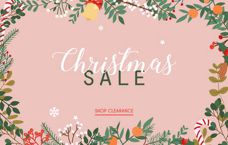 Christmas sale banner. Winter leafs on the background. Flat design modern vector illustration concept.