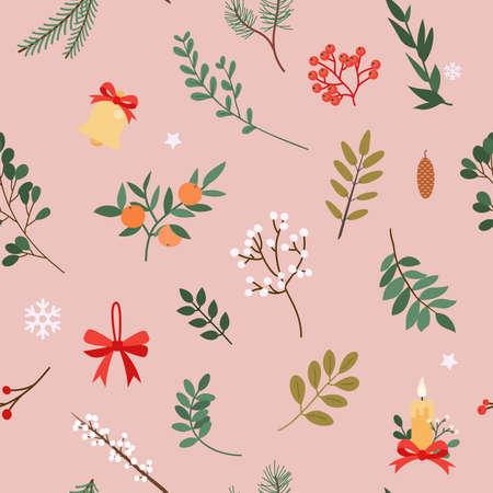 Christmas pattern. Christmas decor elements. Flat design modern vector illustration concept.