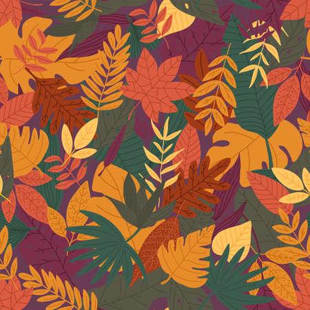 Autumn leafs pattern design. Seamless pattern. Stock Illustratie