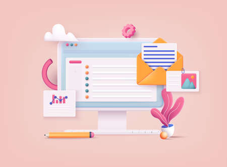 3D Web Vector Illustrations. Mail service concept. Computer with open pages. Stock Illustratie