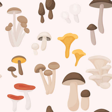 Large Mushroom set of vector illustrations in flat design isolated on white. Seamless pattern. Stockfoto - 157564682
