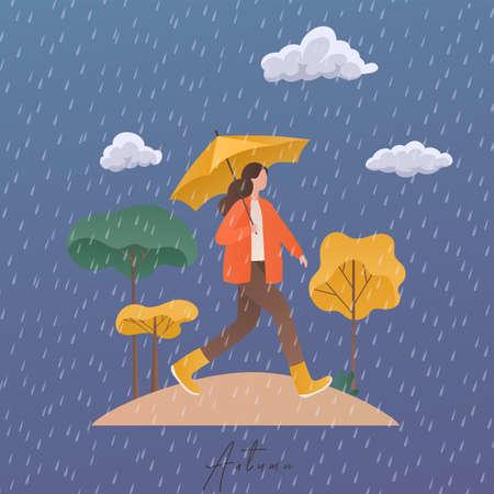 Autumn concept illustration. Girl with umbrella under autumn rain.